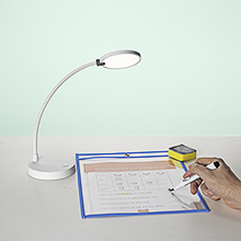 LED desk lamp + 1 packet (10pcs) of dry erase pocket sleeves with mini cleaners and black markers