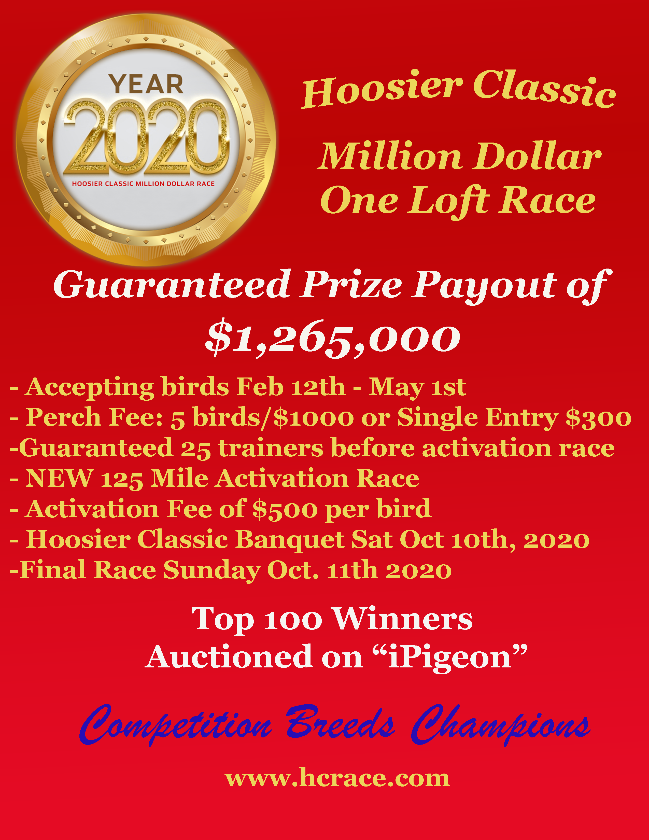 6th Place Winner Hoosier Classic Million dollar Race  Come enter this item might be your bird