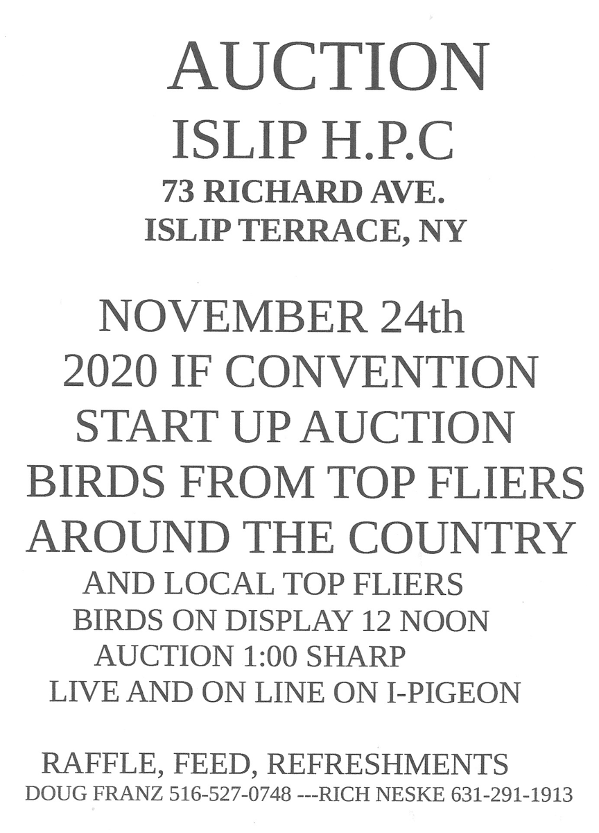 2020 IF convention pre-convention auction sponsored by the Islip H.P.C. , NY Sunday Nov. 24 2019