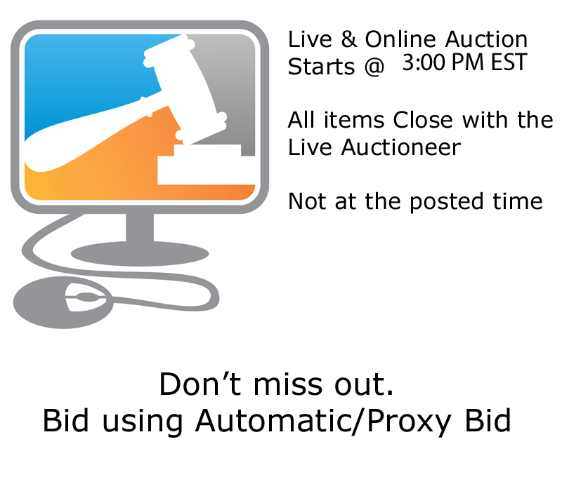Birds on display at 1 PM Live Auction at  3PM EST