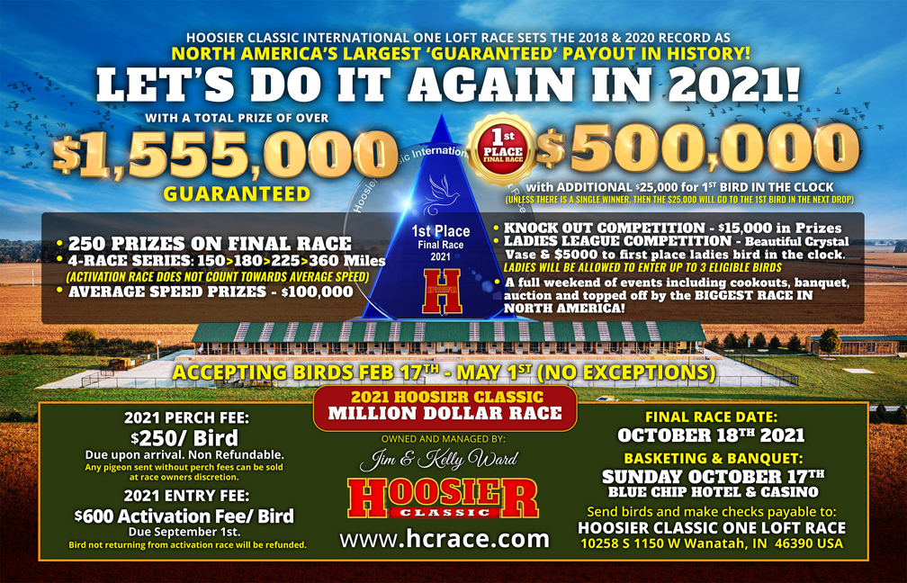 50thPlace 2021 Hoosier Classic This will be the item for the bird which entered the clock