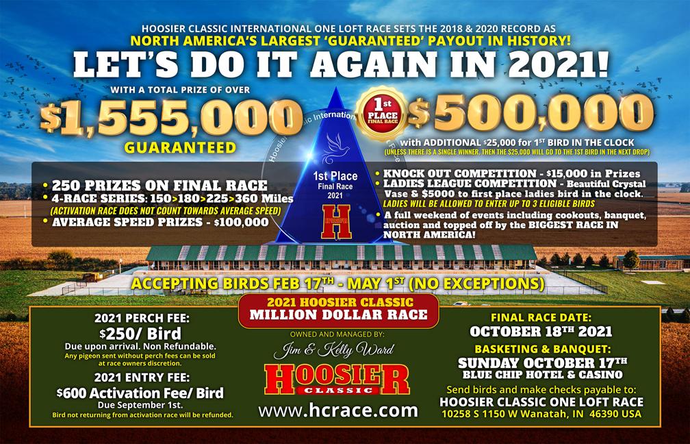 64thPlace 2021 Hoosier Classic Kurpaska Loft - NJ2016-GB21-ECosmic Flower DCH H