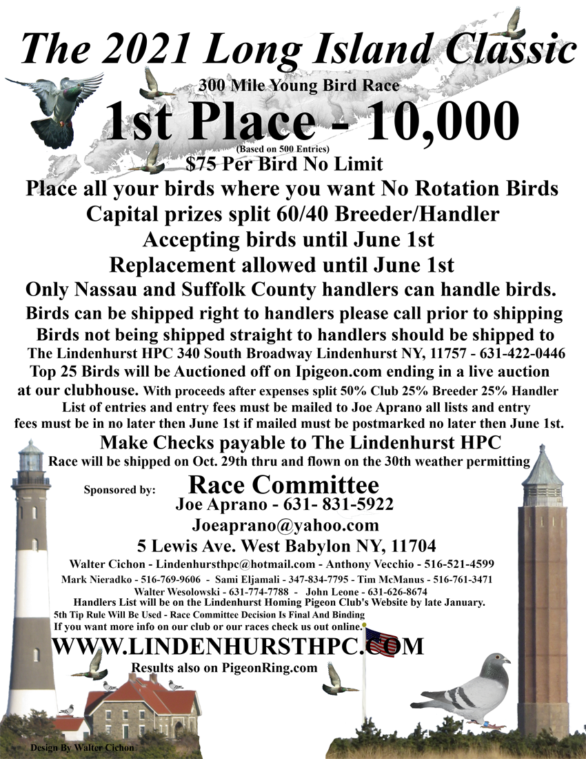Lindenhurst Homing Pigeon Club Lot # 3