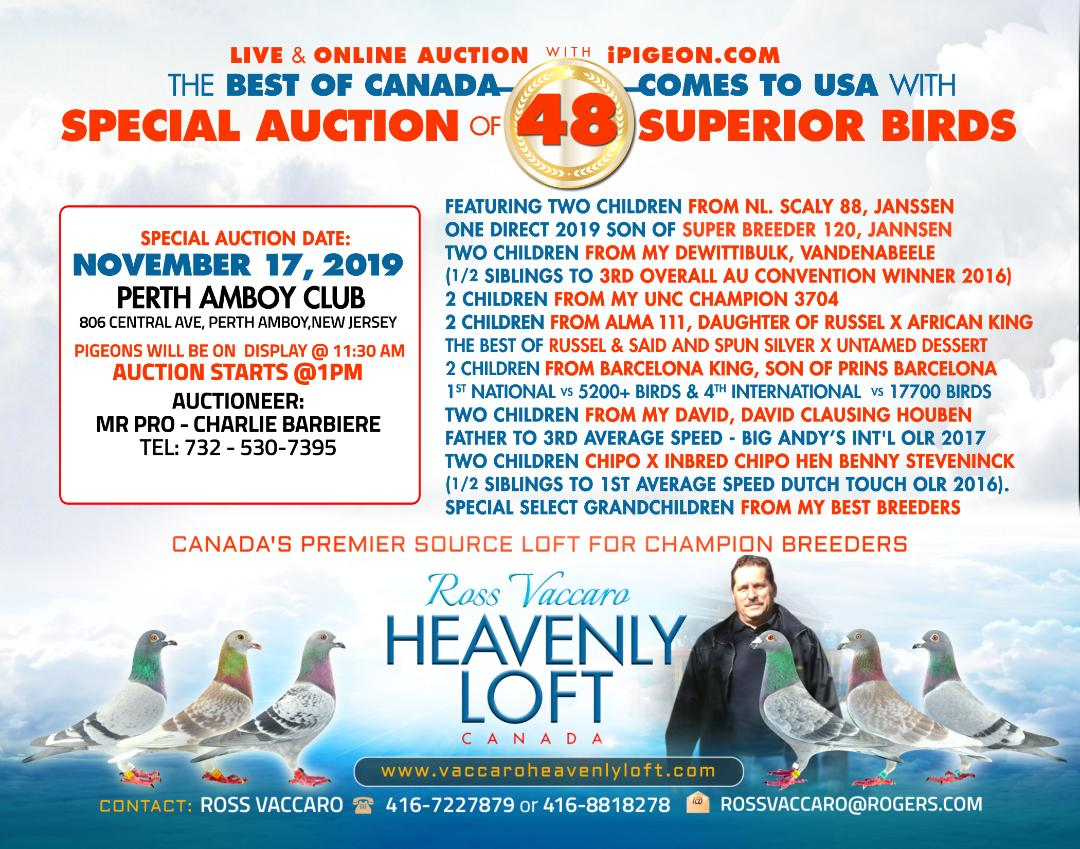 COMING TO IPEGEON LIVE AUCTION NOV 17 AT PERTH AMBOY, NEW JEARSY. AUCTIONED PRO CHARLIE J. BARBIERE.