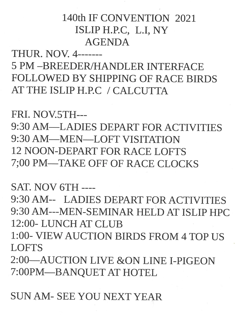 A1 2021 IF CONVENTION  ISLIP HPC L.I.NY, AND AUCTION LIVE AND ON LINE AT I-PIGEON