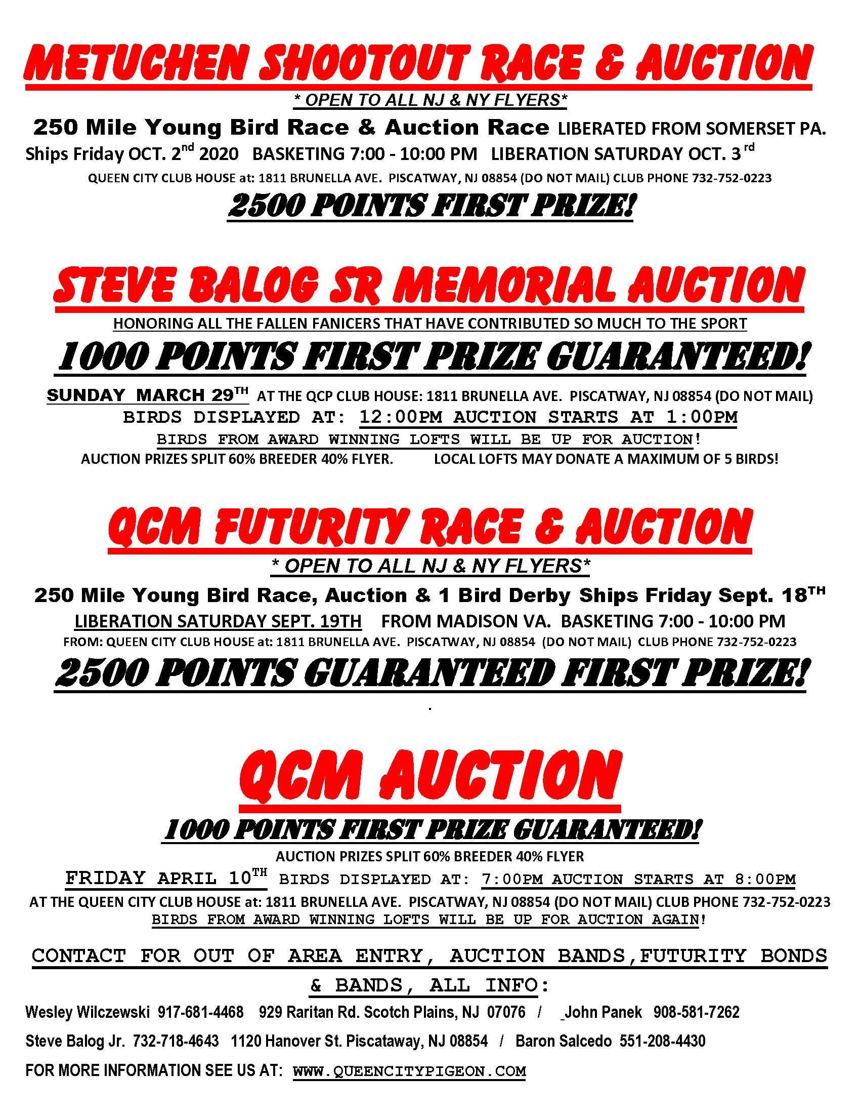 Queen City 2020 Auction Races