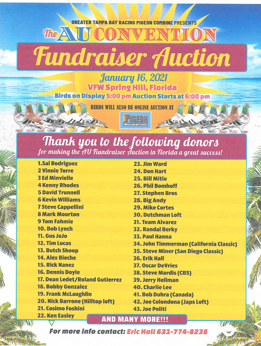GREATER TAMPA BAY RACING PIGEON COMBINE  2021 AU CONVENTION START UP AUCTION
