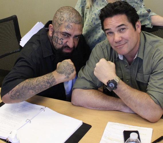 Michael Ochotorena and Dean Cain on set of