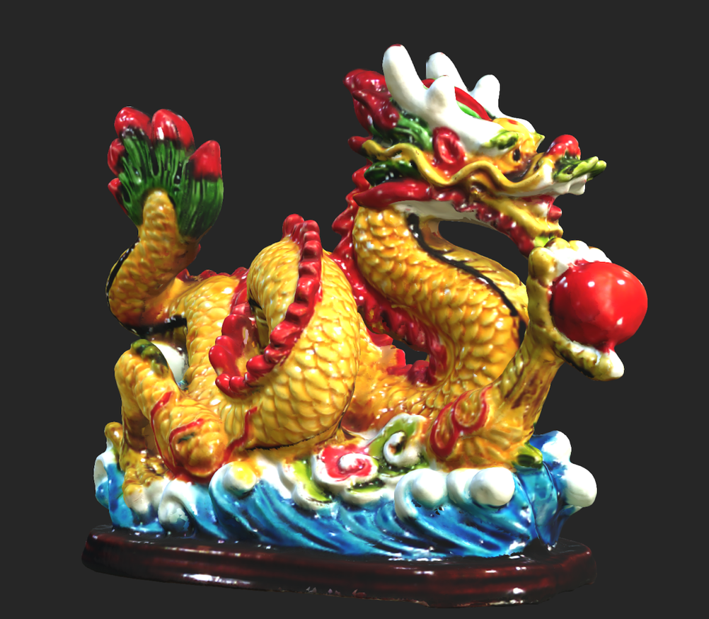Scanned dragon figure with texture applied