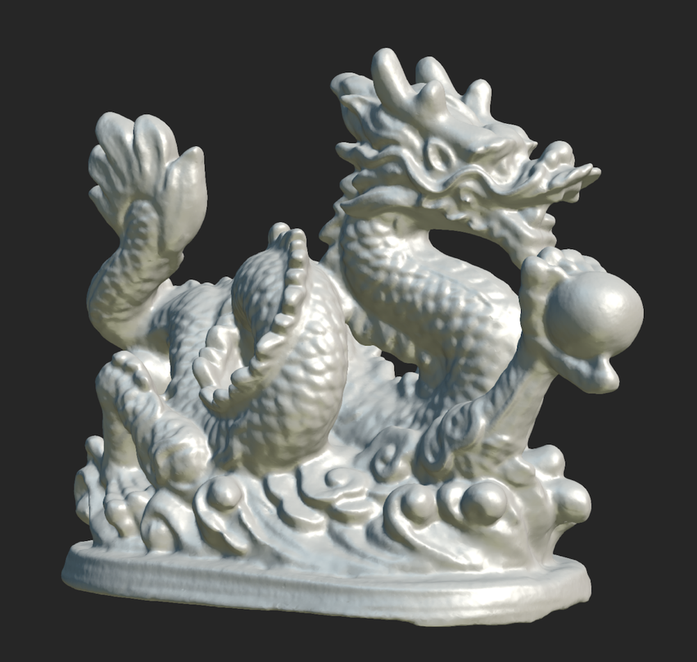 Scanned dragon figure without texture