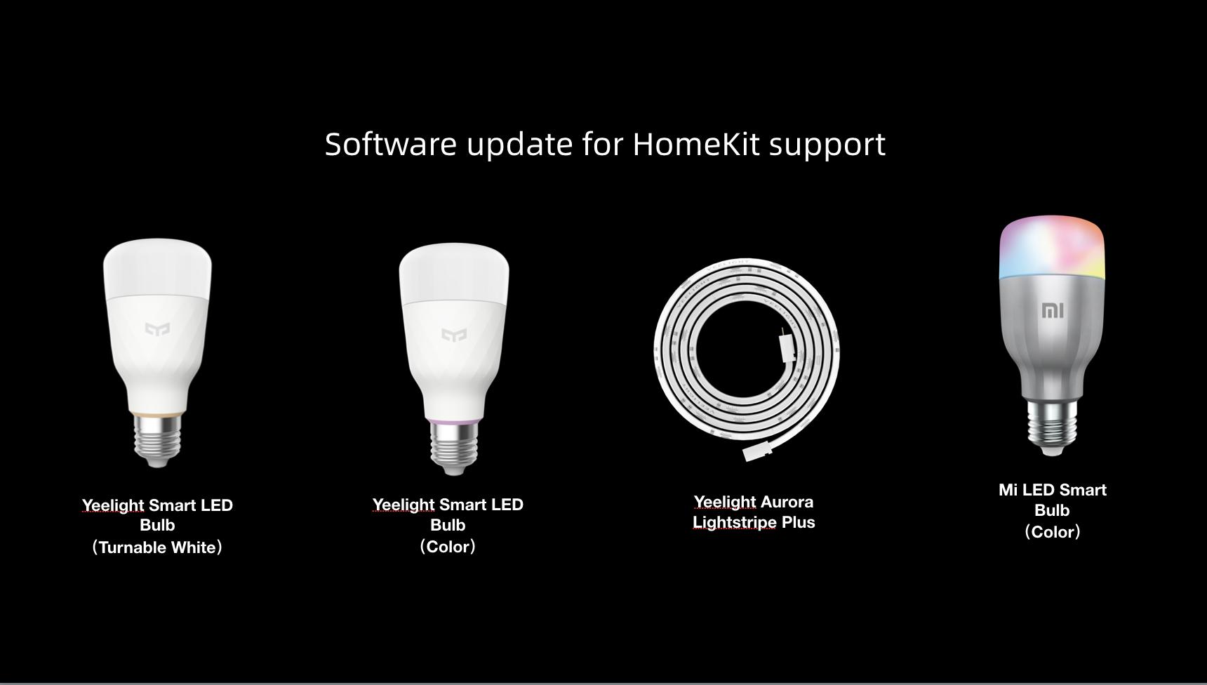 Yeelight Aurora Lightstrip and Yeelight Color Bulb Supporting HomeKit in Q3