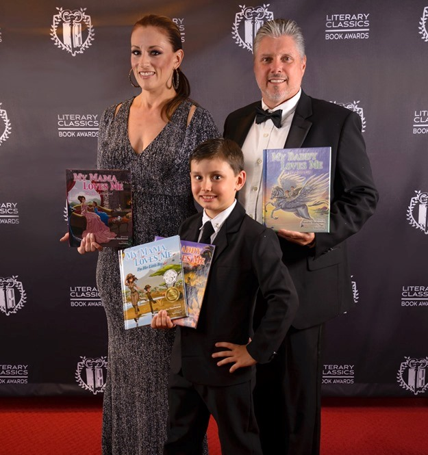 Awarded Author Shanalee Sharboneau with husband Perry and son Braydon