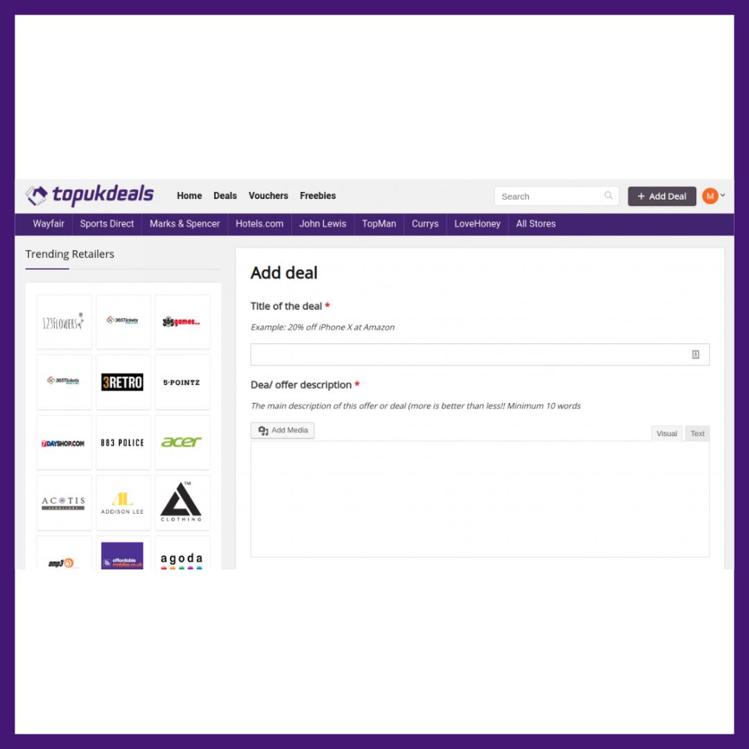 TopUKDeals Add Deal