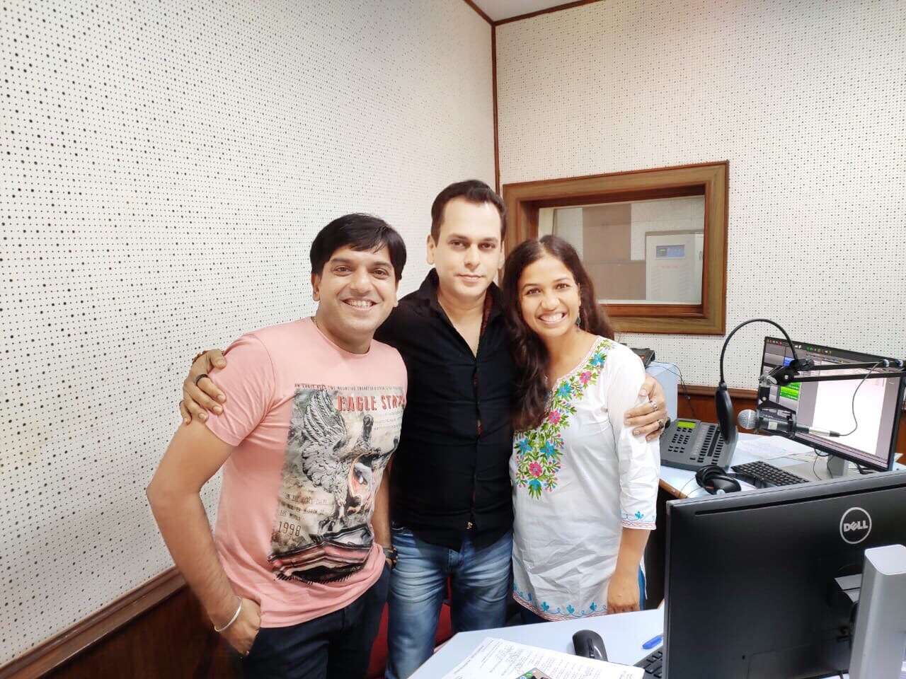 From left to Right  RJ Sandeep Viveck Shettyy and RJ Keisha at the FM Rainbow Studio