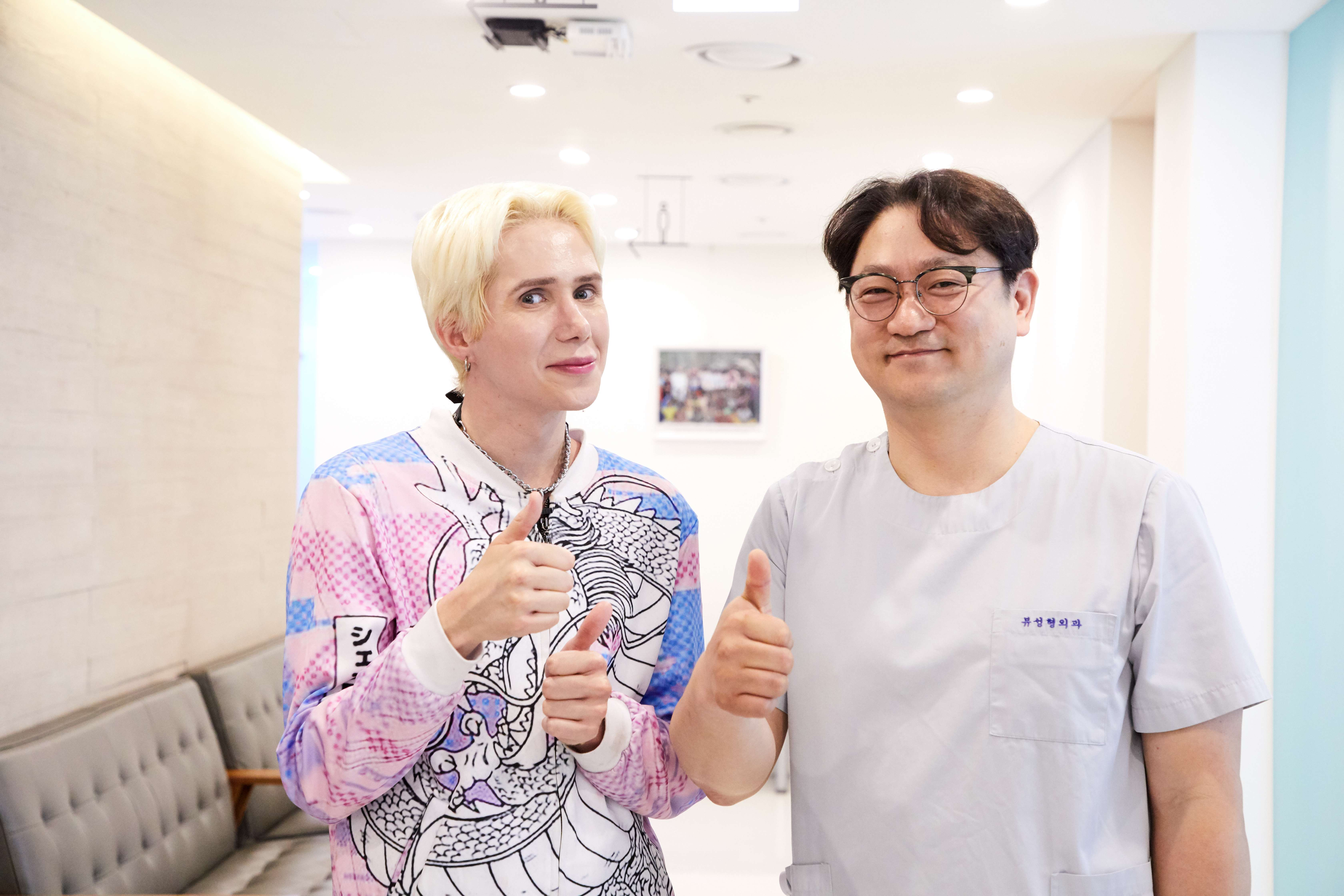 Oli London with Dr Yun Chang Woon at View Plastic Surgery