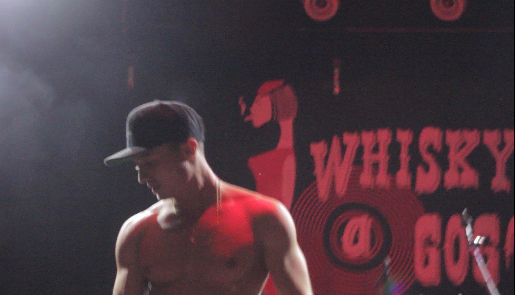 Leon Budrow shirtless on stage at The Whisky a Go Go