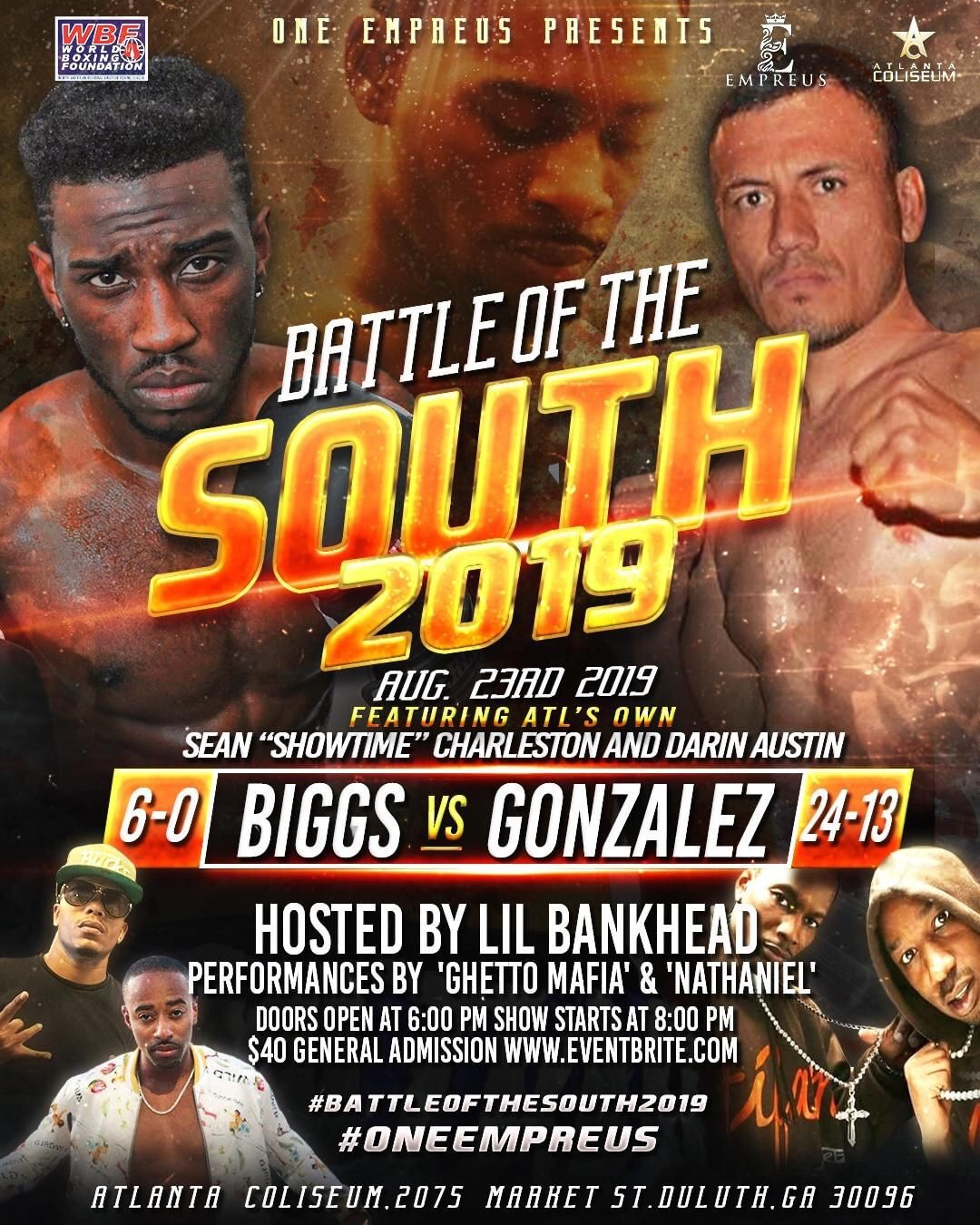 Battle of the South a ten fight card Friday August 23 2019