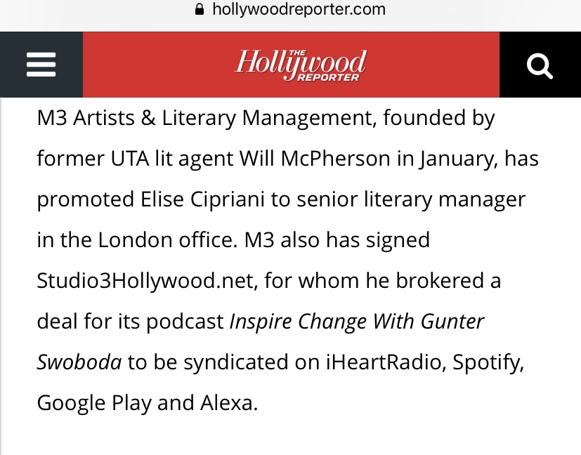As reported in the trades via The Hollywood Reporter