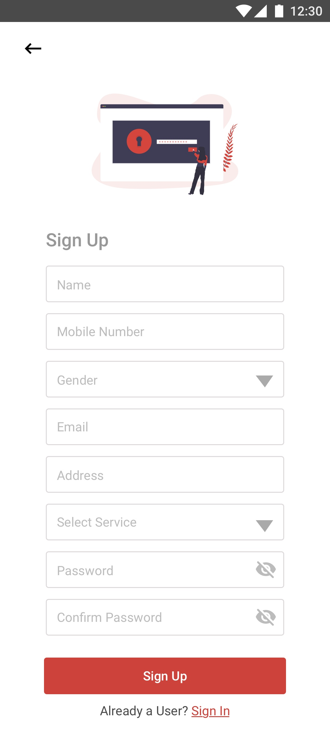 Sign Up Screen of app