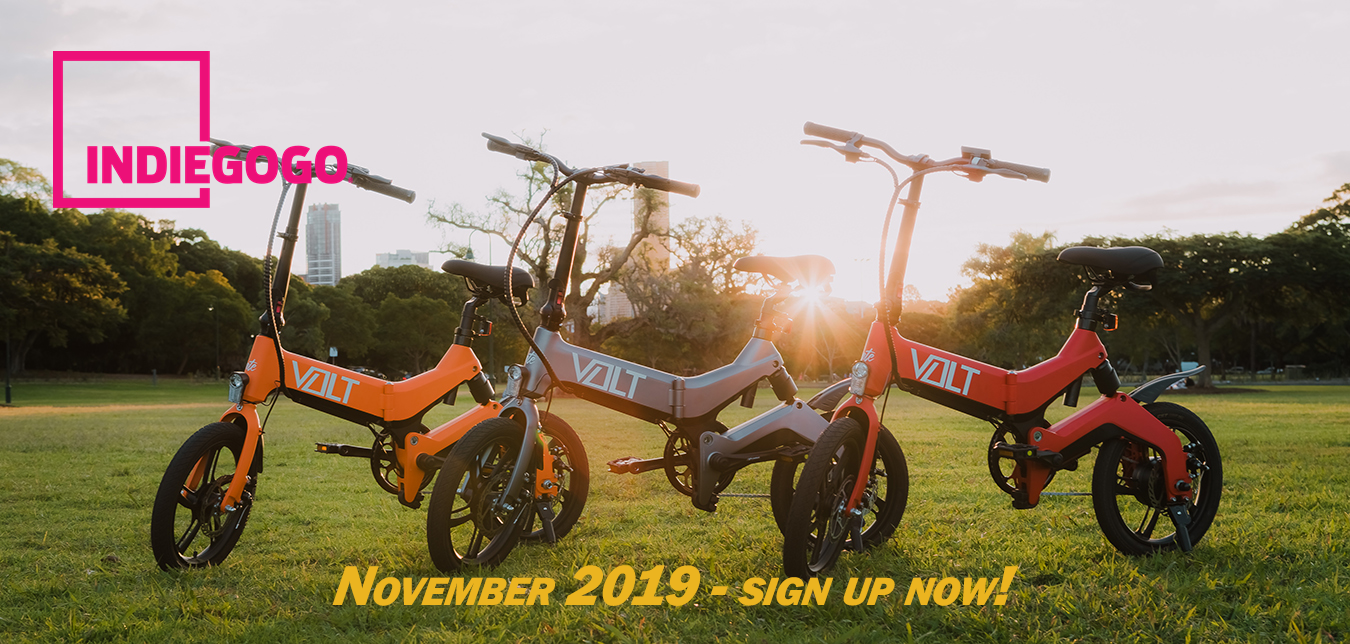Indiegogo promotional material of the VOLT bike lineup