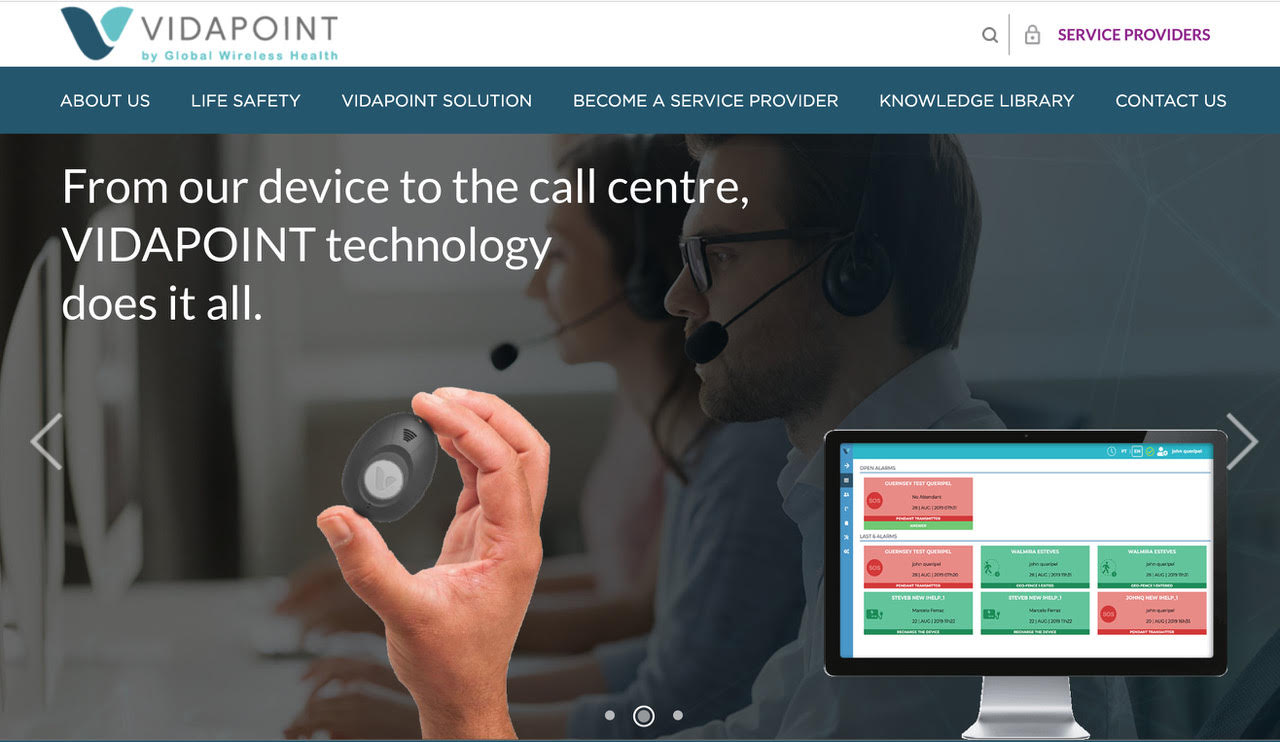 Vidapoint pendant and software combined with GWH connectivity  make personal emergency services available worldwide
