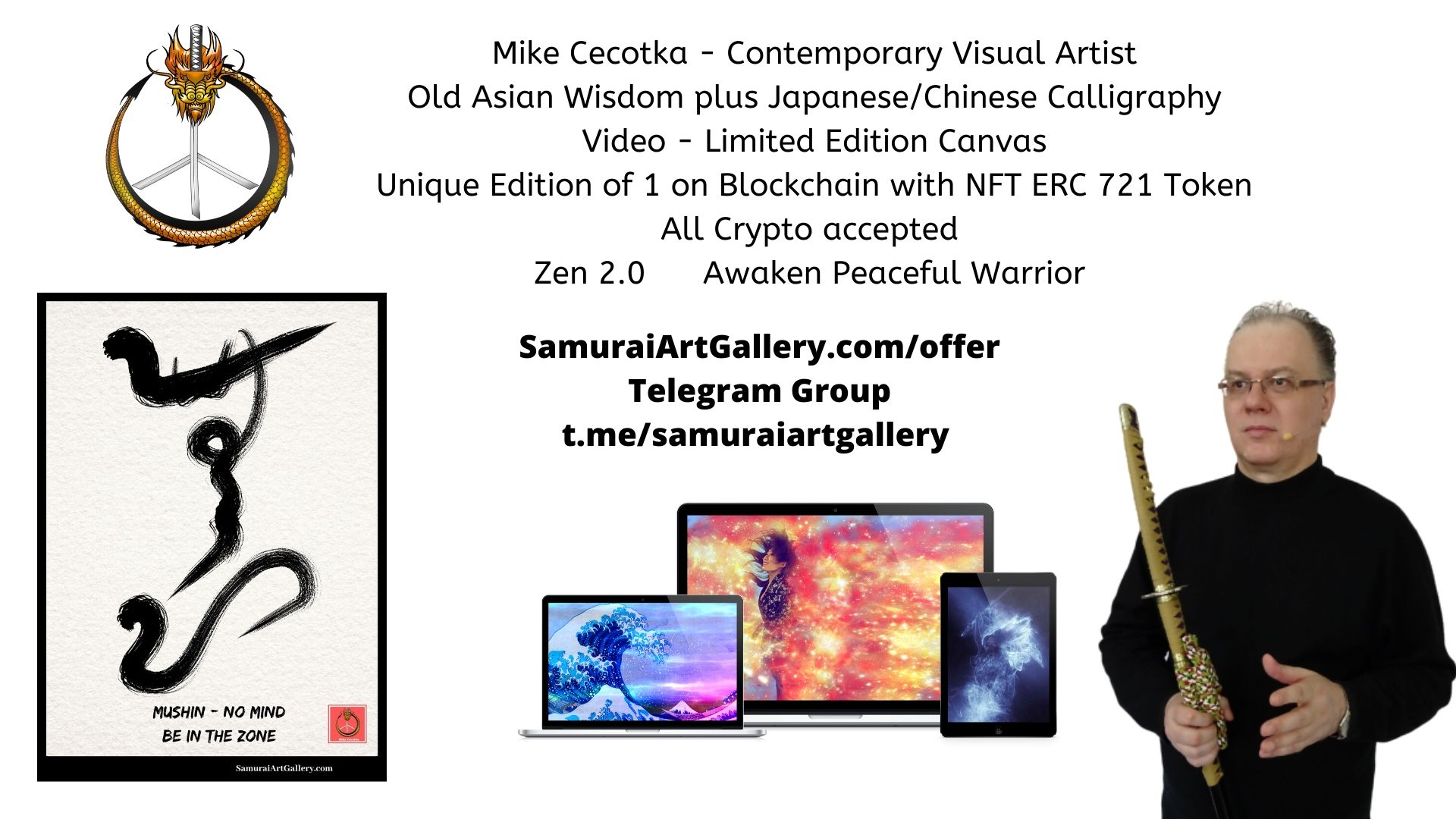 JapaneseChinese Calligraphy and Crypto Art  Mike Cecotka  SamuraiArtGallerycom