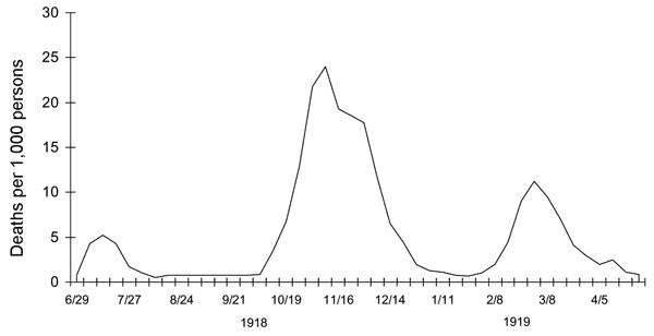 Figure 1  Death Rates of the Spanish Flu June 1918 to May 1919