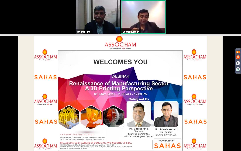 Mr Sohrab Kothari Cofounder SAHAS Softech LLP with Mr Bharat Patel ASSOCHAM