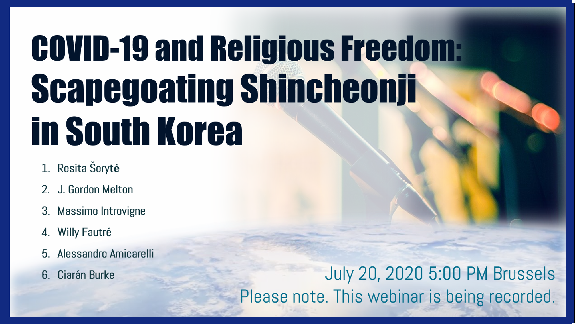 Webinar on COVID19 and Religious Freedom Scapegoating Shincheonji in South Korea