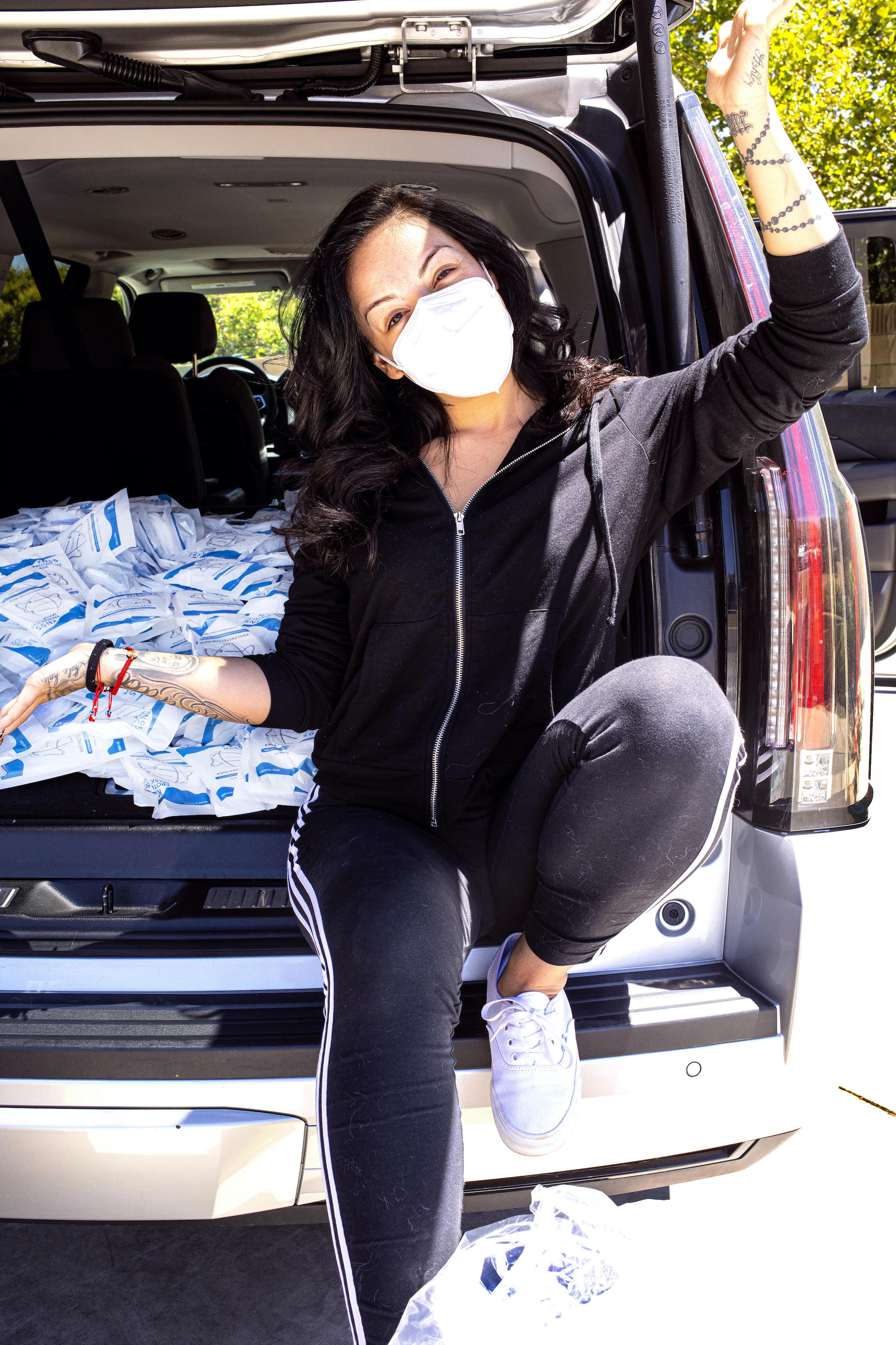 Salice Rose donating masks to Antelope Valley Hospital