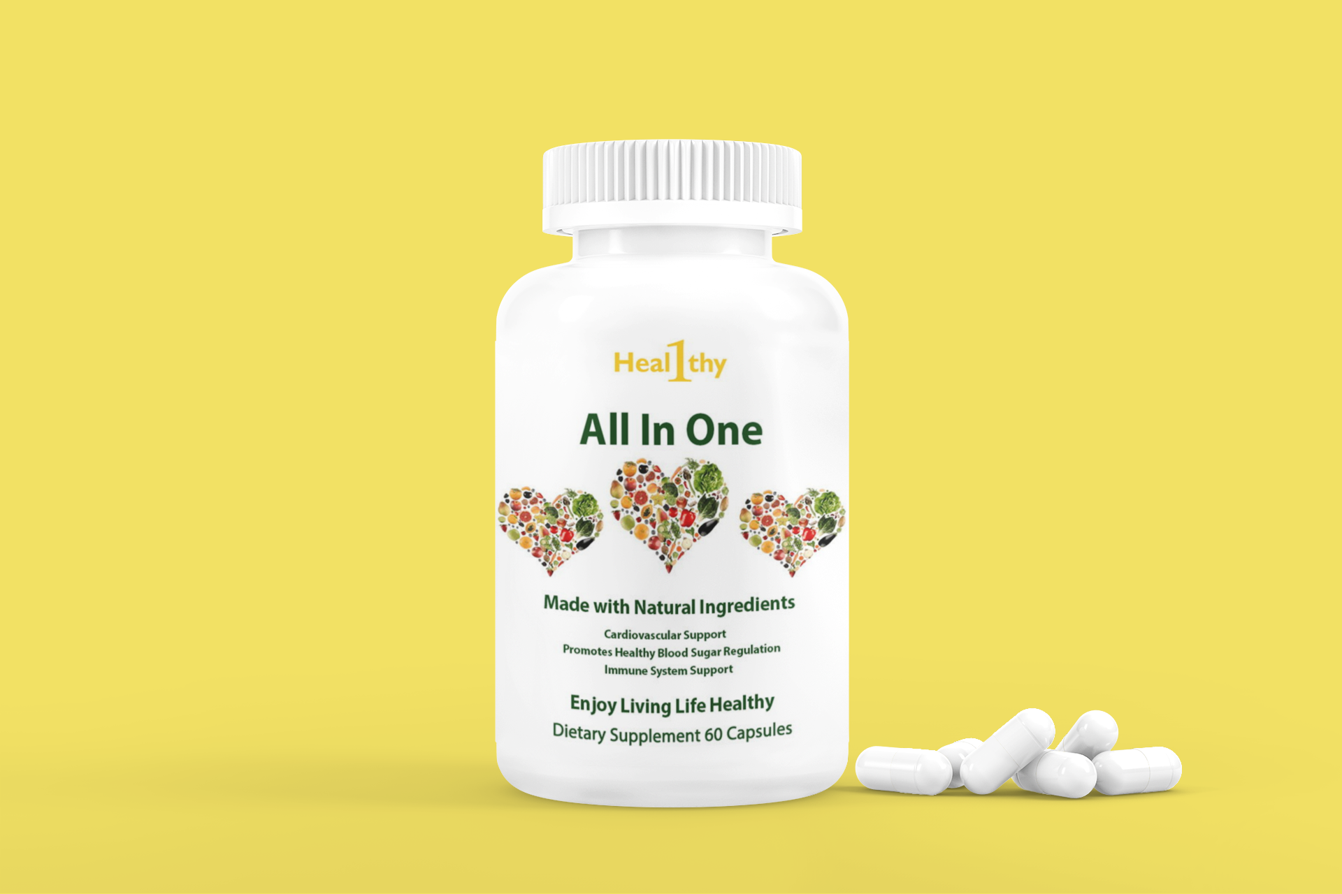 mockup of a plastic pill bottle featuring some pills 4046 el1 6