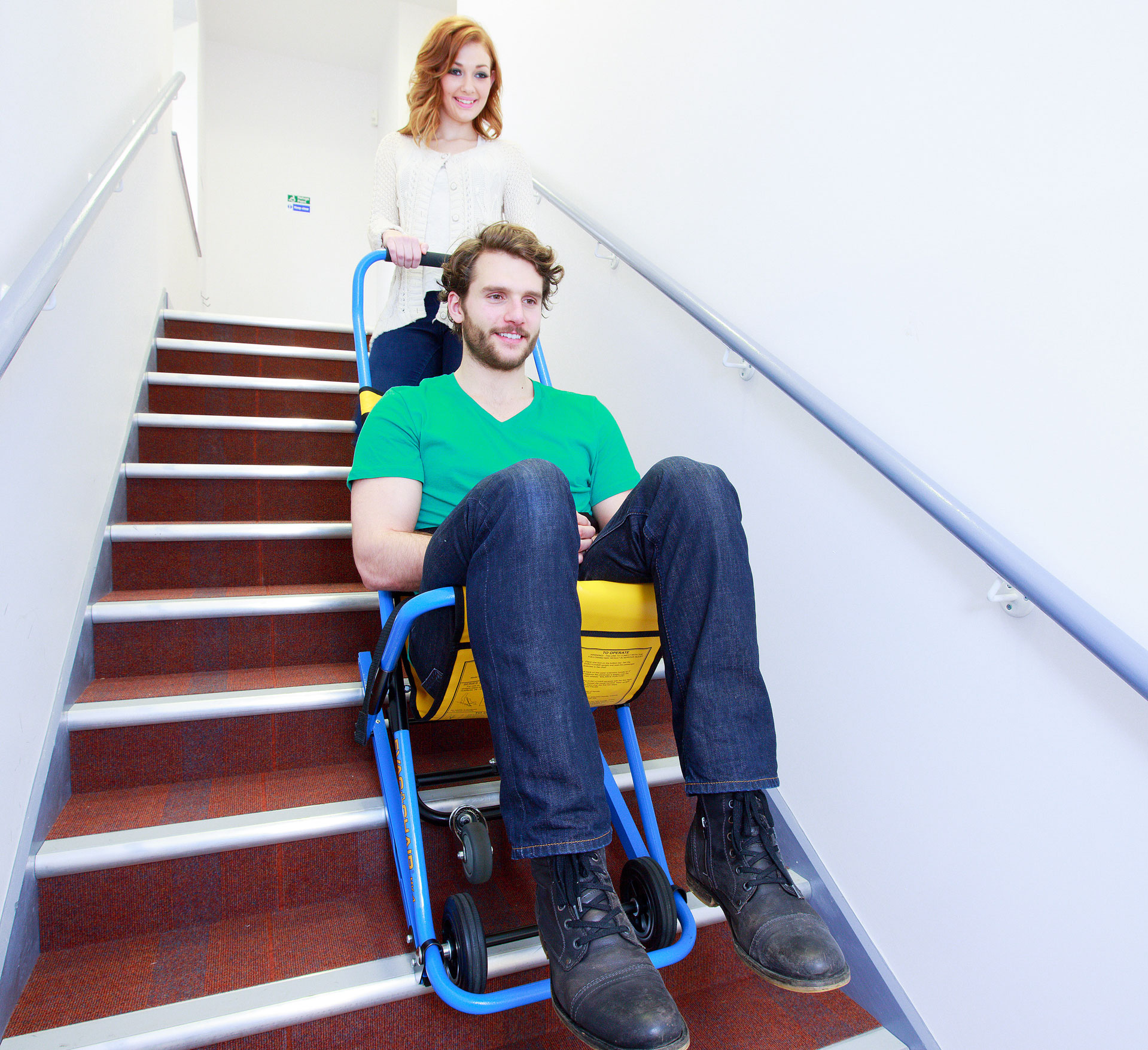 Evacuation chair in use