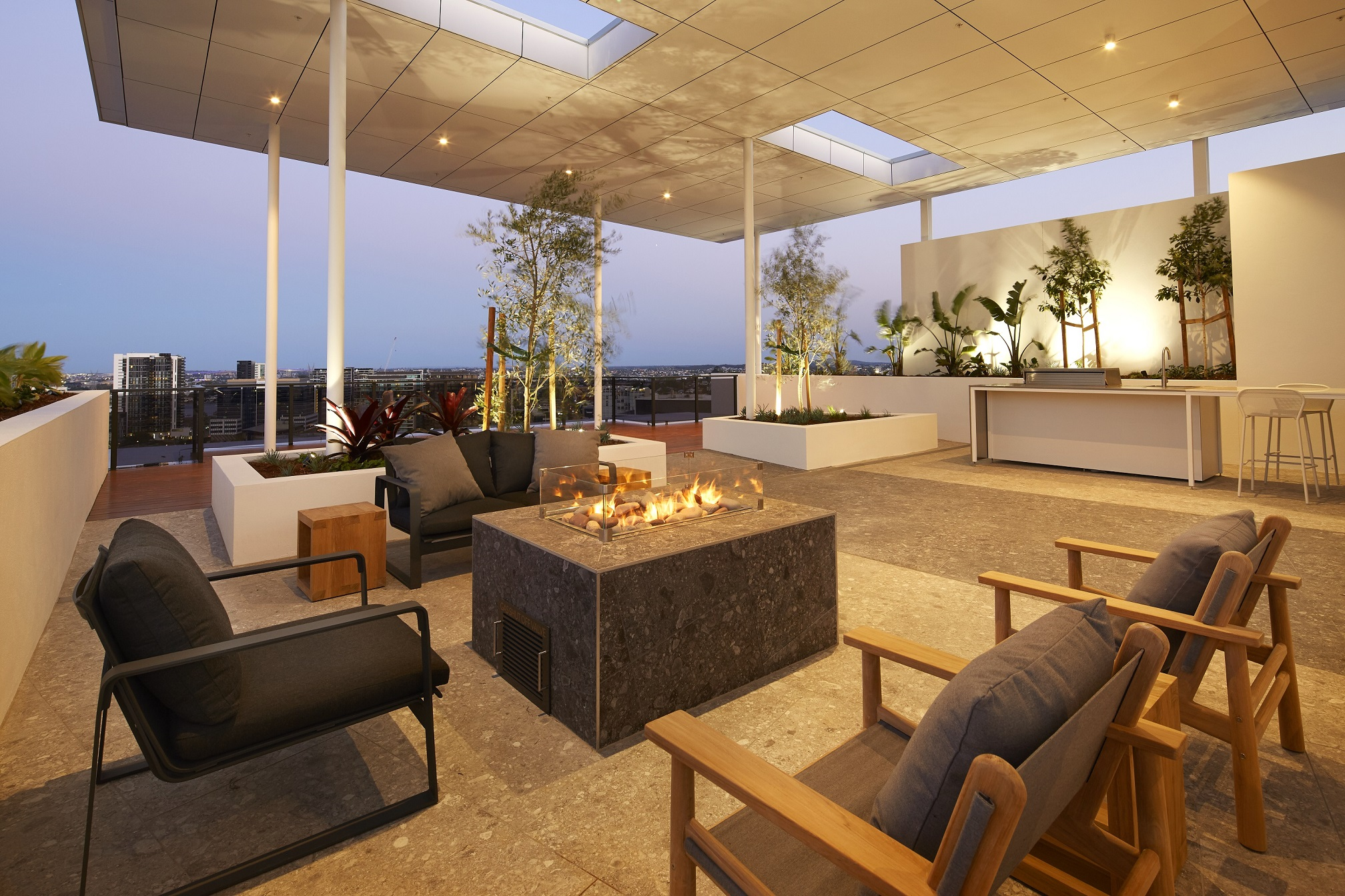 Omega Apartments rooftop entertaining space