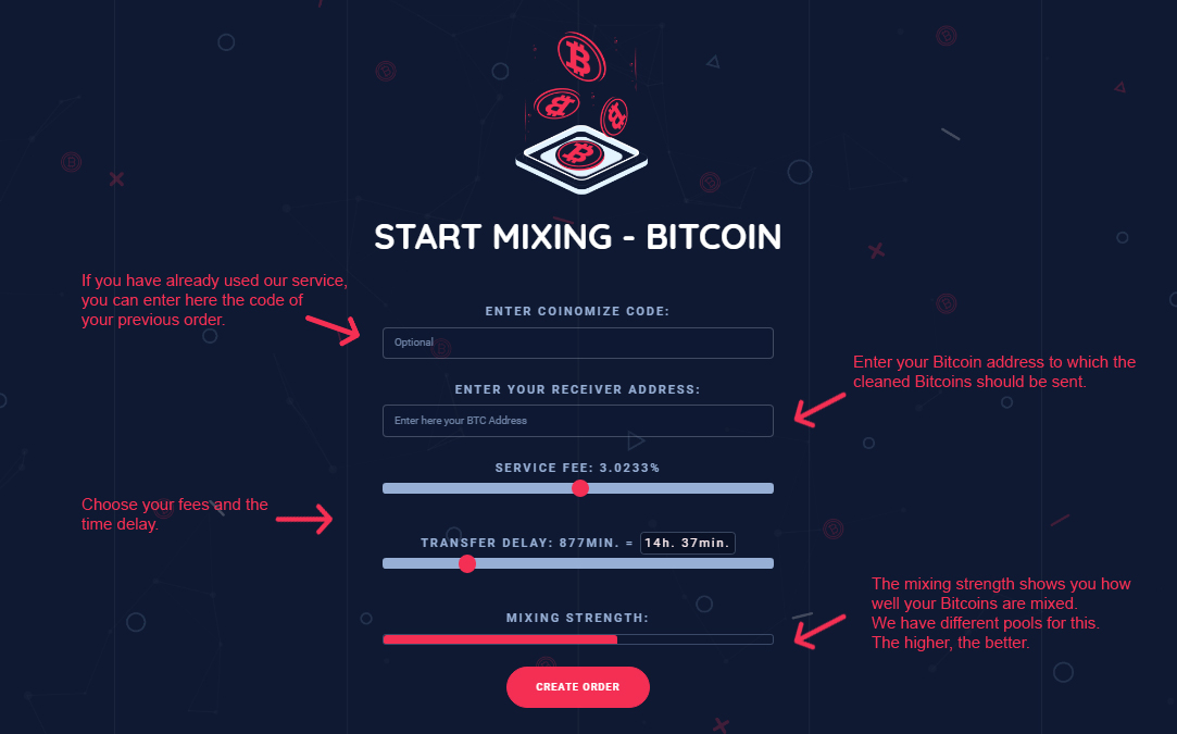 Coinomize  Bitcoin Mixing Page