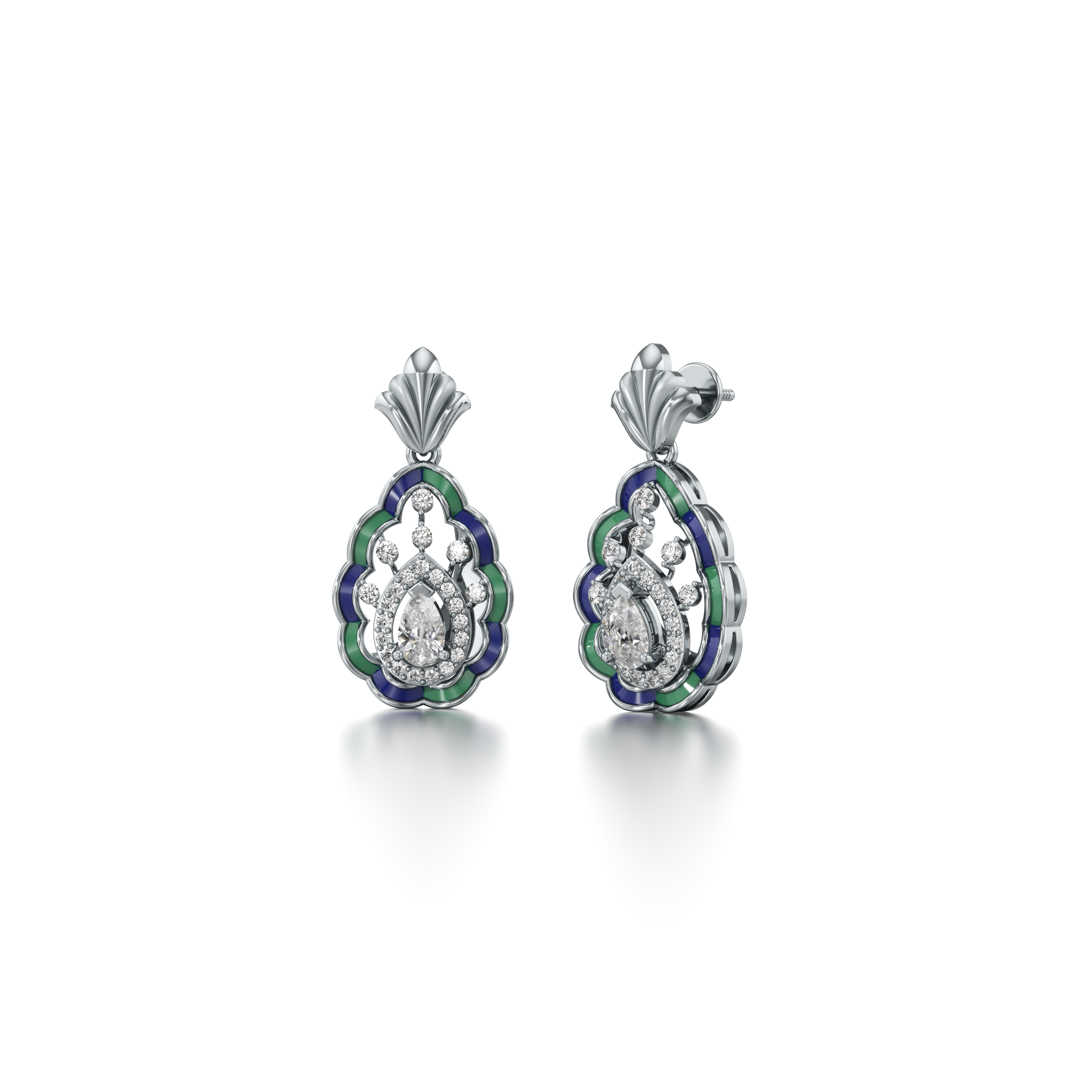 White Gold And Enamel Sparkle Earrings