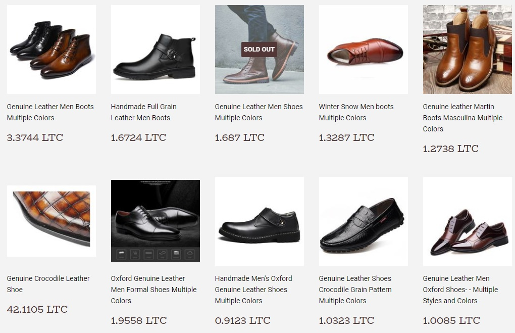 A picture form AlfaEgocom showing genuine leather shoes priced in Litecoin
