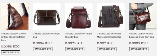 A picture form AlfaEgocom showing genuine leather bags priced in Bitcoin