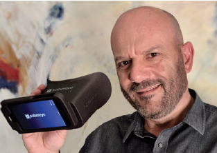 Antonio Visconti founder and CEO of SOBEREYE with the mobile SOBEREYE testing device
