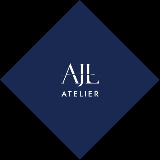 AJL Atelier white logo on blue lozenge