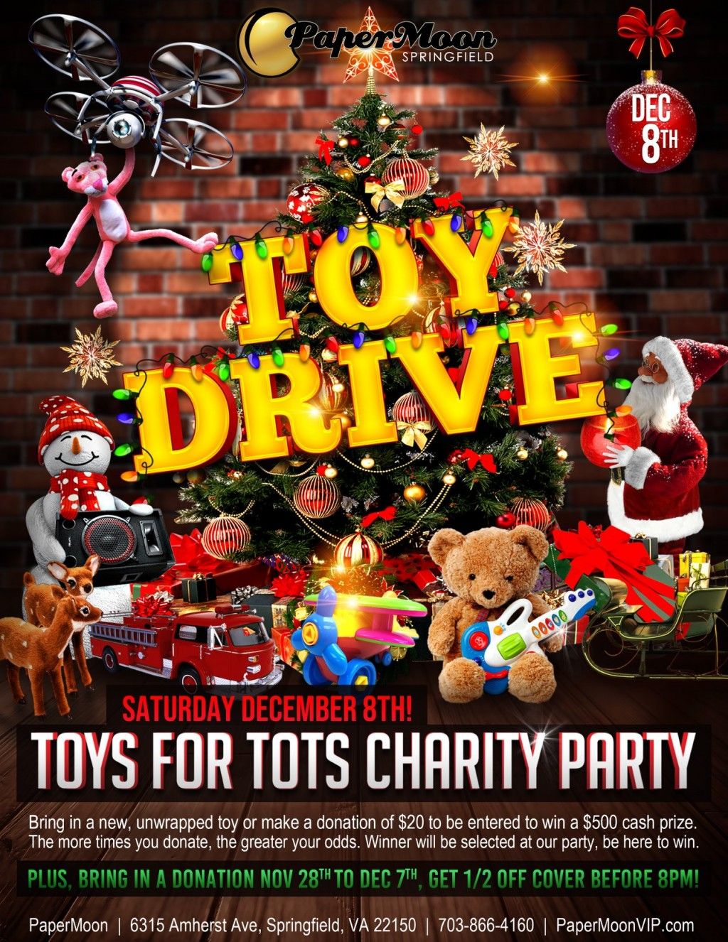 PaperMoon Gentlemens Club is offering a very tempting Christmas treat to good Samaritans who donate to Toys for Tots