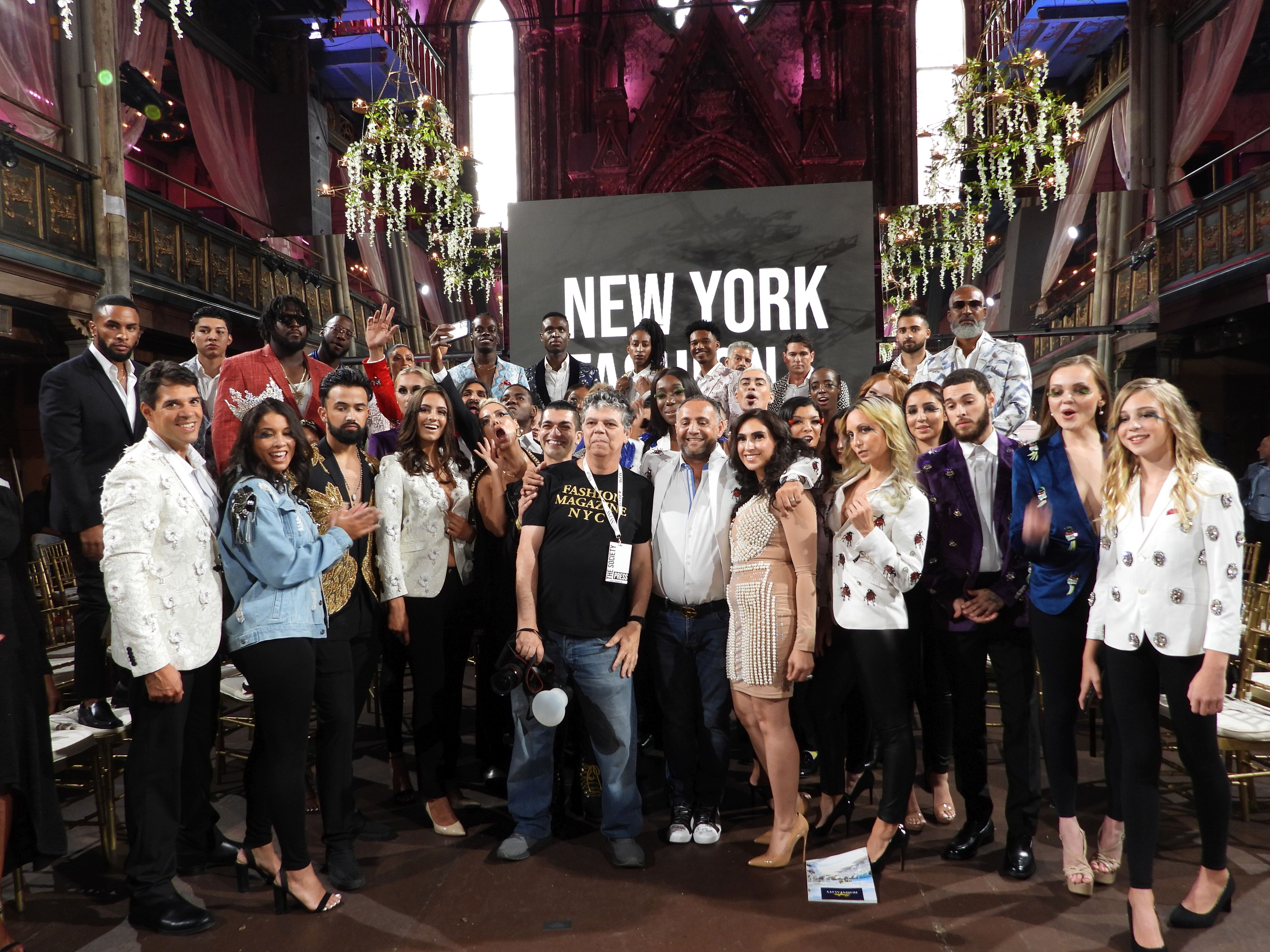 Designer Elie Baleh NYFW Show Finale Group Photo with all 140 models