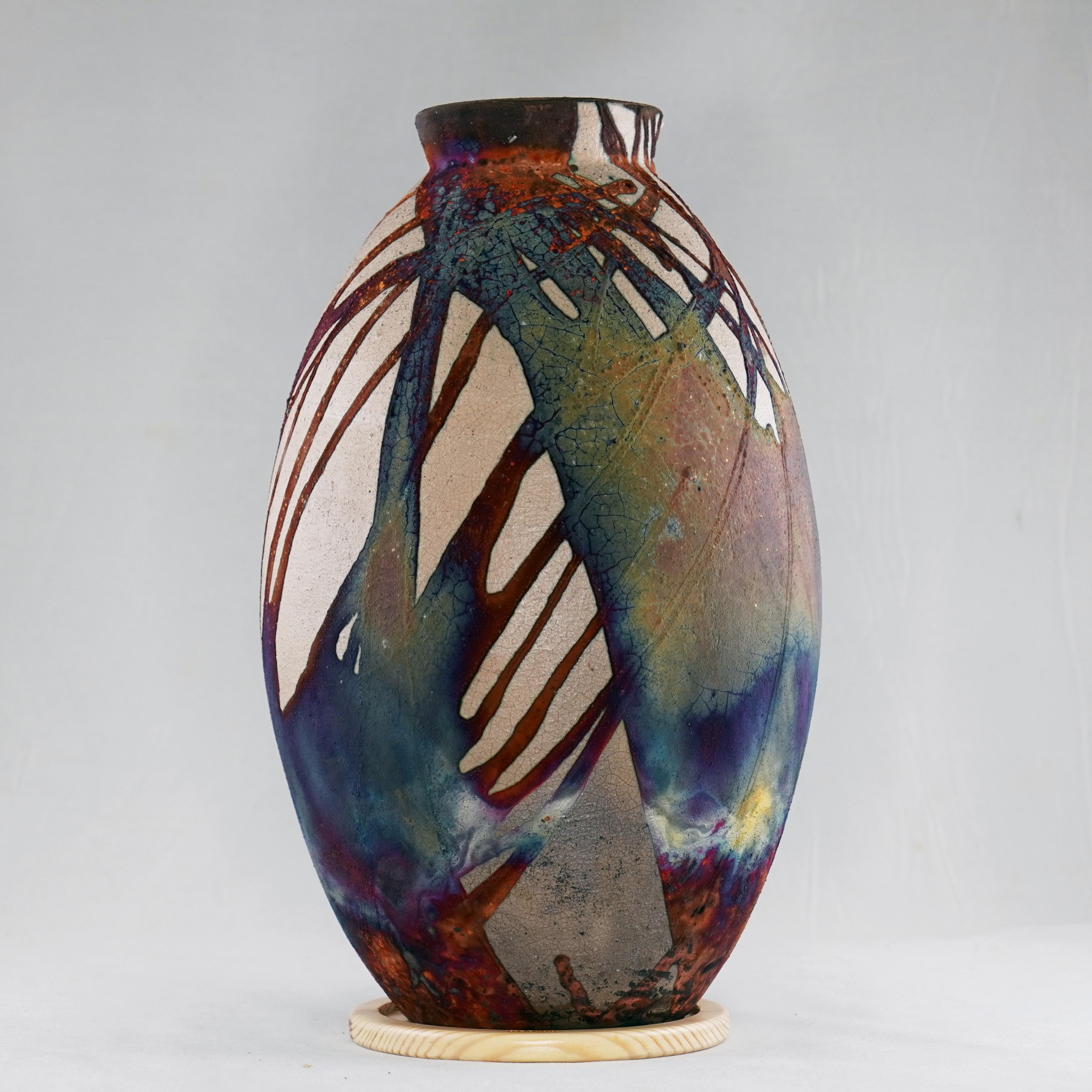 Half copper Matte Oval Vase