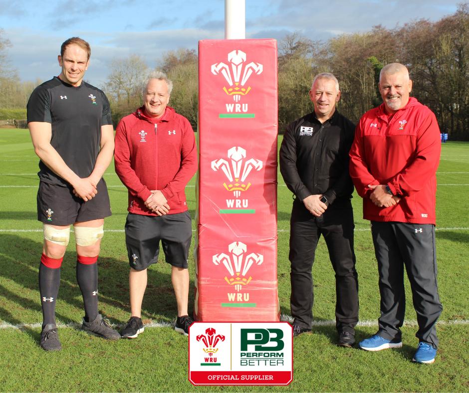 Alun Wyn Jones Wales Captain Paul Stridgeon Head of Performance Welsh Rugby Union Mark Gladwin Director Perform Better Warren Gatland Wales HEad Coach