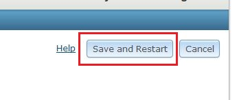 The picture of the Save & Restart button