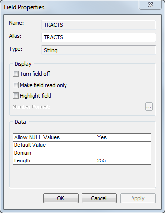 An image of the Field Properties dialog box.