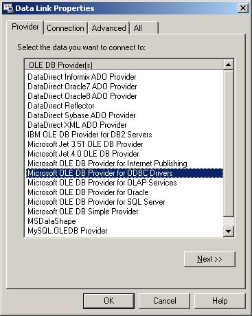 How To: Use the Microsoft OLE DB provider for ODBC drivers to