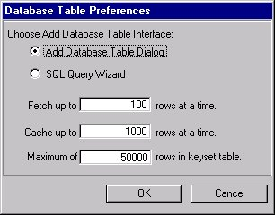 [O-Image] Add Database Table dialog box