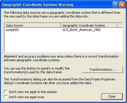 [O-Image] ArcMap Geographic Coordinate Systems Warning dialog 9.2