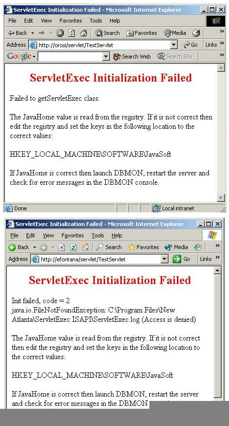Problem: ServletExec Initialization Failed