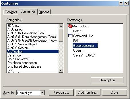 [O-Image] [O-image] ArcMap Tools Customize dialog box